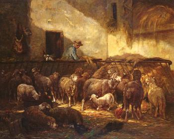 Charles Emile Jacque : A Flock Of Sheep In A Barn