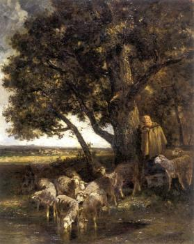 A Shepherdess with Her Flock by a Pool