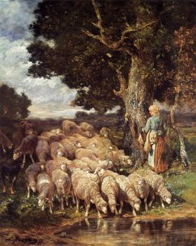 A Shepherdess with her Flock near a Stream