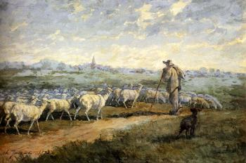 Charles Emile Jacque : Landscape With A Flock Of Sheep