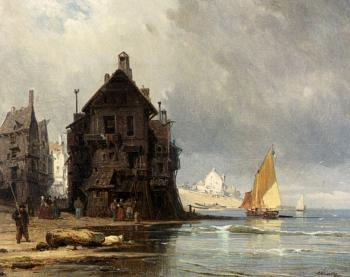 Jr Charles Euphrasie Kuwasseg : A Coastal Scene In Normandy