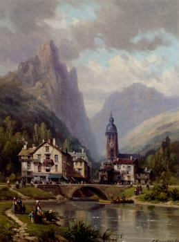 Jr Charles Euphrasie Kuwasseg : An Agler Before An Alpine Riverside Town