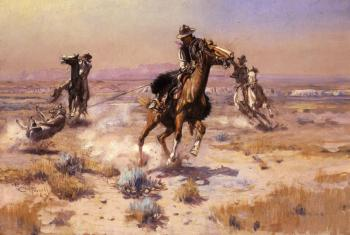 Charles Marion Russell : At Rope's End
