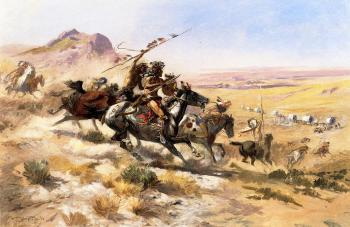 Charles Marion Russell : Attack on a Wagon Train