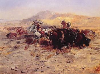 Charles Marion Russell : Buffalo Hunt