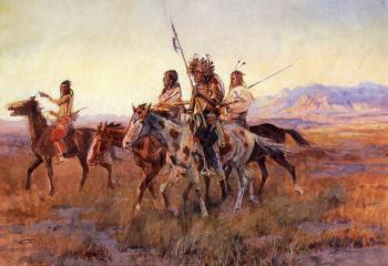Charles Marion Russell : Four Mounted Indians
