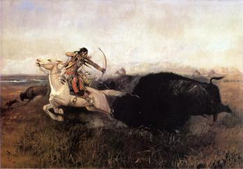Charles Marion Russell : Indians Hunting Buffalo