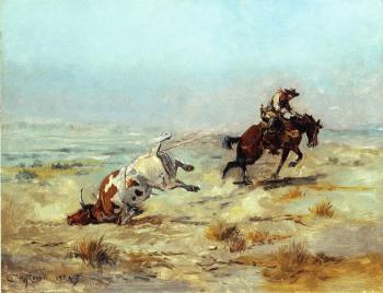 Charles Marion Russell : Lassoing a Steer