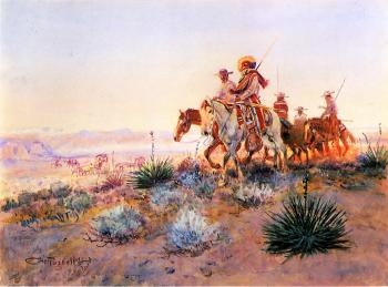 Charles Marion Russell : Mexican Buffalo Hunters