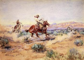 Charles Marion Russell : Roping a Wolf