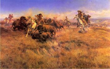 Charles Marion Russell : Running Buffalo