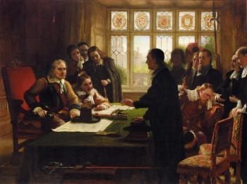 Oliver Cromwell and His Secretary John Milton, Receiving a Deputation Seeking Aid for the Swiss Protestants