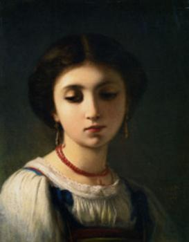 Charles Zacharie Landelle : Portrait of a Young Italian Girl
