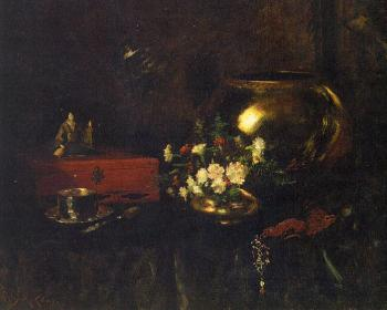 William Merritt Chase : Still Life with Brass Bowl