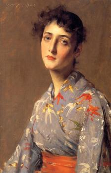 William Merritt Chase : Girl in a Japanese Kimono