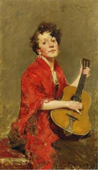 William Merritt Chase : Girl with Guitar