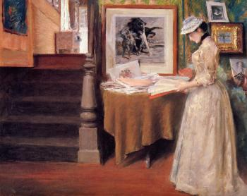 Interior Young Woman at a Table