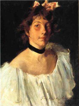 William Merritt Chase : Portrait of A Lady in a White Dress aka Miss Edith Newbold
