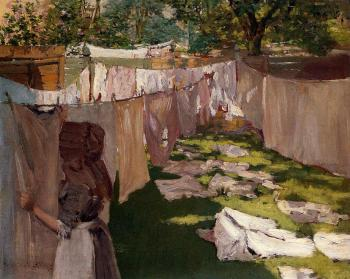 William Merritt Chase : Wash Day A Back Yark Reminiscence of Brooklyn