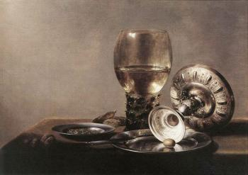 Pieter Claesz : Still Life with Wine Glass and Silver Bowl