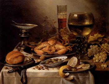Pieter Claesz : Banquet Still Life With A Crab On A Silver Platter, A Bunch Of Grapes, A Bowl Of Olives, And A Peeled Lemon All Resting On A Draped Table