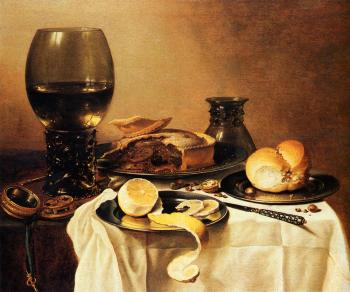 Pieter Claesz : Breakfast Still Life With Roemer, Meat Pie, Lemon And Bread