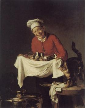 Claude Joseph Bail : A Boy with dogs and Kittens