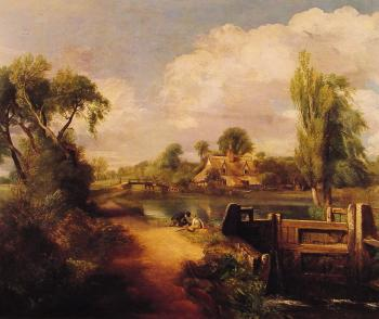 John Constable : Landscape with Boys Fishing