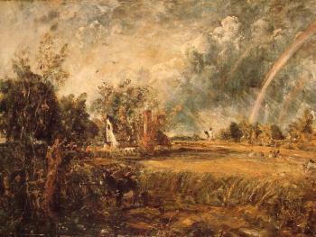 John Constable : Cottage, Rainbow, Mill