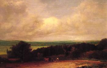John Constable : Landscape Ploughing Scene in Suffolk
