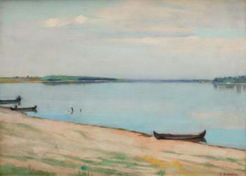Constantin Artachino : Boats on the shore of danube