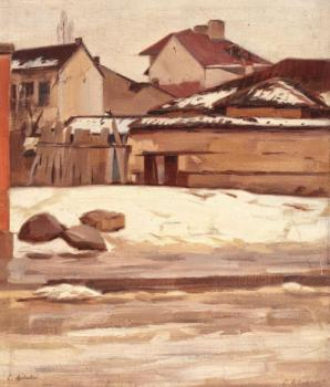 Constantin Artachino : Corner of bucharest during winter
