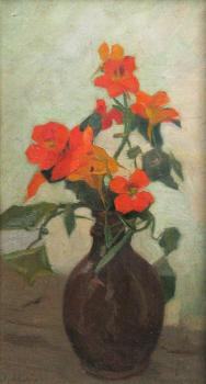 Constantin Artachino : Edelweiss in brown vase