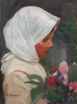 Constantin Artachino : Girl with flowers