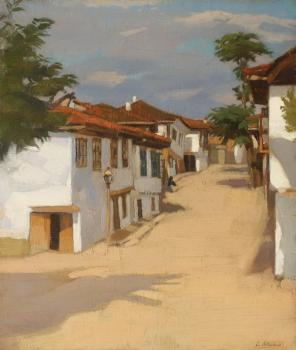 Constantin Artachino : Landscape with houses at balcic