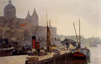 Cornelis Vreedenburgh : A View Of Amsterdam With The St Nicolaas Church