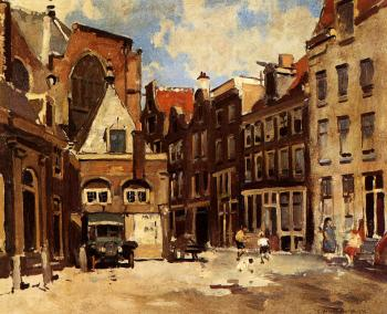 Cornelis Vreedenburgh : A Townscene With Children At Play Haarlem