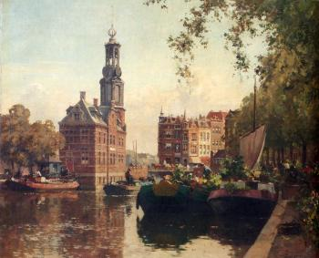 Cornelis Vreedenburgh : The Flowermarket On The Singel Amsterdam With The Munttoren Beyond