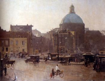 Cornelis Vreedenburgh : View Of The Singel Amsterdam With The Koepelkerk Beyond