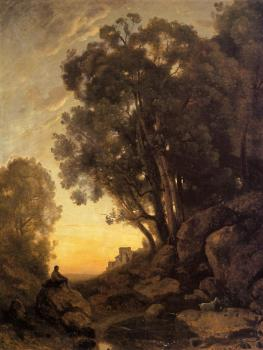 Jean-Baptiste-Camille Corot : The Italian Goatherd, Evening