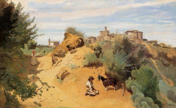 Jean-Baptiste-Camille Corot : Genzano, Goatherd and Village