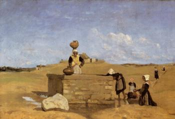 Jean-Baptiste-Camille Corot : Breton Women at the Fountain