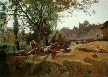 Jean-Baptiste-Camille Corot : Peasants under the Trees at Dawn, Morvan