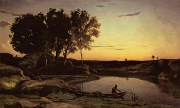 Jean-Baptiste-Camille Corot : Evening Landscape(The Ferryman, Evening)
