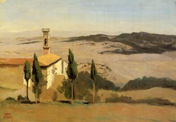 Jean-Baptiste-Camille Corot : Volterra, Church and Bell Tower