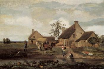 Jean-Baptiste-Camille Corot : A Farm in the Nievre
