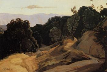 Jean-Baptiste-Camille Corot : Road through Wooded Mountains