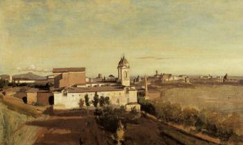 Jean-Baptiste-Camille Corot : Rome, the Trinita dei Monti, View from the Villa Medici
