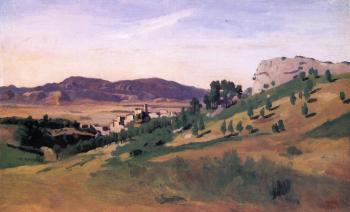 Jean-Baptiste-Camille Corot : Olevano, the Town and the Rocks