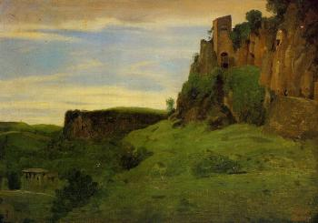 Jean-Baptiste-Camille Corot : Civita Castelland, Buildings High in the Rocks (La Porta San Salvatore)